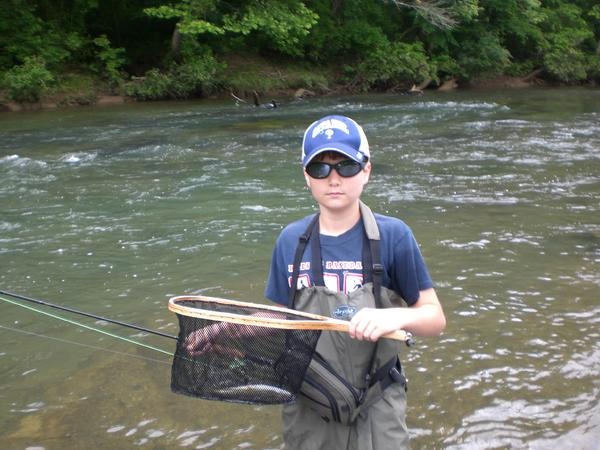 Kellen's first trout on a fly rod